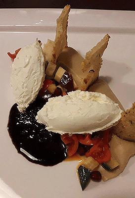 Schmorgemüse Selleriepüree Parmesaneis