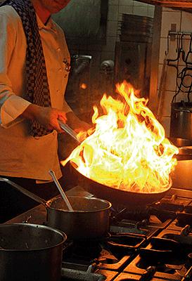 Feuer und Flamme in der Küche